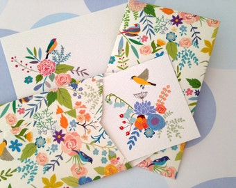 Bird Mini Cards, Gift Enclosure Card, Mini Cards and Envelopes, Gift Card Holder, Set of 10
