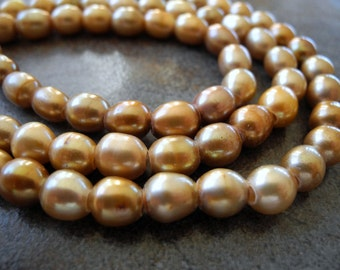 Large Hole Freshwater Rice Pearls Gold Brown Earthy  9mm  8mm Full Strand 20 Pieces