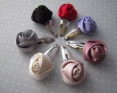 Little Rosette Trio . baby snap clips . satin rosettes . toddler hair accessory . choose 3