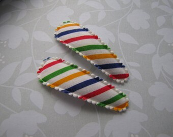 Circus Stripes . snap clip pair . toddler hair accessory
