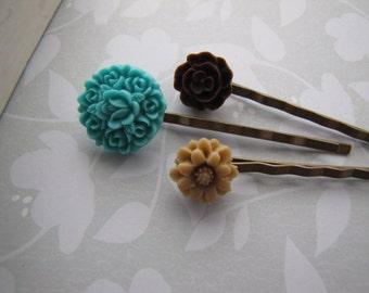Desert . bobby pins . girls hair accessory . blue brown