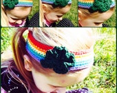 St Patricks Day Rainbow Four Leaf Clover Headband - Child to Adult Sizes