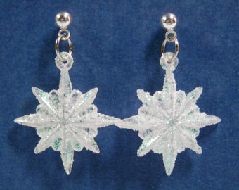 Choose 1, 2, or 3 of 3 Snowflake Earring White Snow Flake Choice Post Or Clip-On Or French Ear Wire Glittered Iridescent Silver Tone Costume