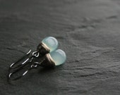 Aqua chalcedony drops and sterling silver dangle earrings - READY to SHIP