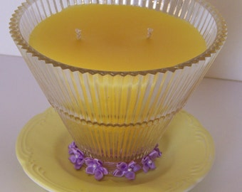 Round Yellow Light Shade Candle, Ceiling Fan Light Shade Candle, Glass Globe Candle, Home Decor, Repurposed Light Shade