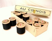LARGE box French thread.12 spools/500 yds each.wooden.black.Chinese cotton.unused stock.tessiemay