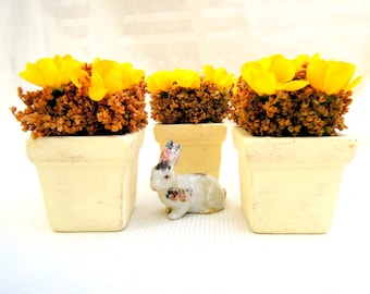 REDUCED.3 springtime small floral bouquets.sunny yellow flowers.cream ceramic pots.silk.dried.seasonal.tessiemay