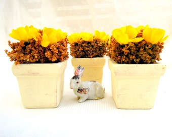 REDUCED.3 small floral bouquets.sunny yellow flowers.cream ceramic pots.silk.dried.seasonal.tessiemay