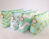 Monogrammed Clutch. Mint and Gold Clutch. Mint Cosmetic Bag. Monogrammed Cosmetic Bag. Mint Bridesmaid Clutches. Custom Bridesmaid Gift Set