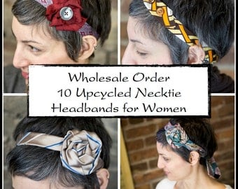 Wholesale Order: 10 Upcycled Necktie Headbands for Women