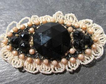 Edwardian Brooch ANTIQUE Beaded Pin Brooch Pearl Beads Beaded Black Glass Jet Seed Beads Vintage Jewelry Destash (M207)