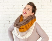 THE OMBRÉ COWL | Ginger | Chunky Knit Ombré Oversized Huge Textured Winter Cowl Scarf