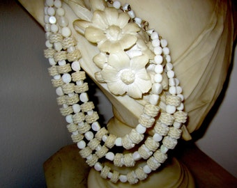 West German 3 Strand ABS & White 3 Strand Necklace