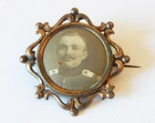 antique french photo brooch mourning brooch