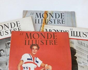 vintage french magazines le monde illustre paper magazines lot