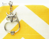 Owl zipper pull charm to personalize bag zippers - antique silver finish zipper pull for purses, jackets, and clothes