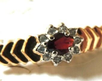 Red Rhinestone Vintage Brooch Pin Faux Garnet Red Jewelry