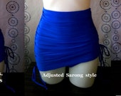 High Waist Tummy Control Bottoms with Adjustable length skirt in Royal Blue
