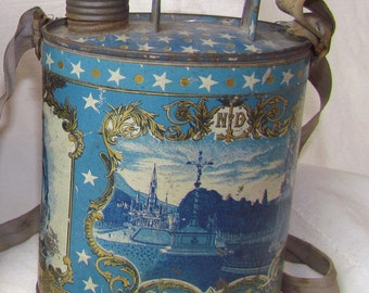 SALE Unique Vintage Small French Lourdes Holy Water Canister Jug Tin Illustrated Bernadette & Mary