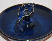 "Cat Water Fountain, Pet Fountain, Indoor Fountain   - 11 Inch Diameter - ""Sapphire Waterleaf """