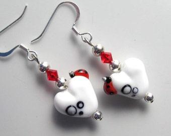 Lovebugs earrings with my handmade lampwork glass beads