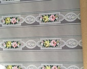 Vintage Wallpaper - Pink Yellow White Flowers with White Beading - 1 Yard