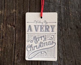 """Letterpress Holiday Gift Tag - Set of 4 """"A Very Merry Christmas"""""""