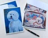 Bichon Frise Blank Card , Choose 1 card , 5x 7, Bichon blue background OR Bichon on chair