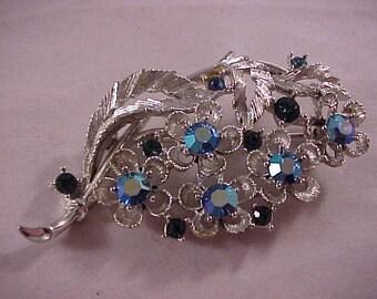 Silver and Blue Rhinestone Brooch