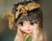 Slouchy Glamour Sparkle Jaguar Embroidery Beads  Hat Blythe Hat OOAK Blythe Hat  Fantasy Hat Blythe Blythe Outfit Hat Blythe