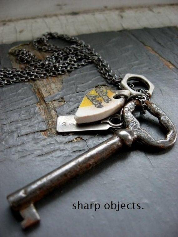 GOOD LUCK Charm- mens vintage steel metalwork skeleton key, stamped hardware tag & chip gunmetal chain NECKLACE