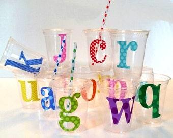 ABC Alphabet Cups 12oz Cornware: includes lid and straws-pkg26