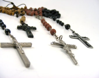 Vintage Rosaries Wood Plastic Beaded Crucifix Crosses Catholic Prayer Beads France Italy Lot of 4