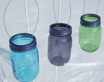 Hanging Mason Jar Purple Lids DIY Garden Lights, Hanging Outdoor Lighting or Flower Vase, No Jars