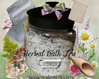 Herbal Bath Salts*Bath Tea with muslin bag*Wooden Scoop*U-Pick Scent*5 oz