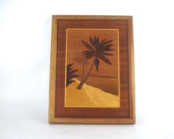 Wood Inlay Wall Decor : Palms vintage marquetry wood inlaid framed picture wall by