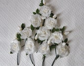 10 Vintage White Millinery Roses, Japan