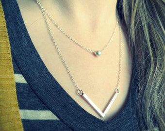 Sterling silver Long layered necklace silver chevron necklace double strand necklace Layering necklace set layer necklace