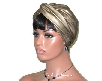 Gold Turban, Leather Turban, Women's Handmade Fashion, Twist, Metallic Turban, Gold Turban, Hat, Solid Gold Turban, Gold Turbin, Turbante