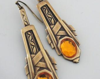 Topaz Earrings - Vintage Brass jewelry - Art Deco Earrings - November Birthstone - handmade jewelry