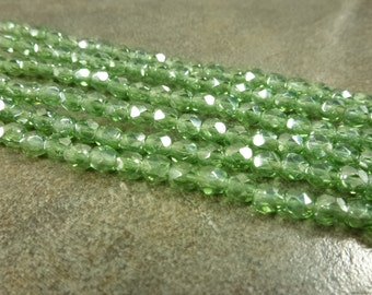 Czech Glass Firepolish Beads Light Olivine Luster 5mm Faceted Glass 25pc