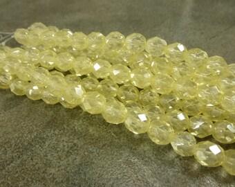 Czech Glass Firepolish Beads Lemon Luster 8mm Faceted Glass 16pc