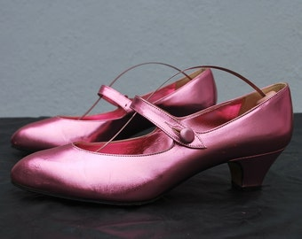 Vintage 70's Right Bank Shoe Co BH metallic pink leather ballerina shoes size 38 USA 7 1/2 by thekaliman