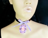 Pink and Lavender Anatomical Heart Cameo Kitty Cat Choker