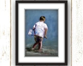 Beach Wall Art - White, Blue - Beach Art - Reproduction of Original Oil Painting Titled: Searching for Mr. Crab, Linen Textured Paper Prints
