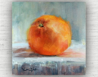Orange Painting Print of Still Life Oil Painting Home Decor Wall Art, Unique Kitchen Food Room Decor, Cottage Style Dining Room Art Print