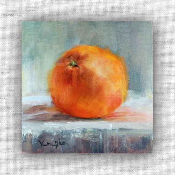 Kitchen Wall Decor Orange : Orange painting print of still life oil home decor