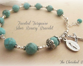 Beautiful Faceted Turquoise and Silver Rosary Bracelet
