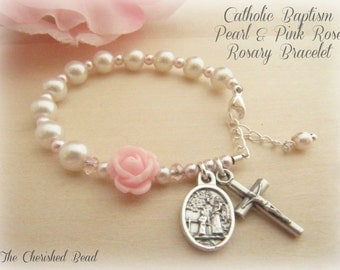 Catholic Baby Girl Baptism Rosary Bracelet with White & Pink Pearl and Rose with Guardian Angel