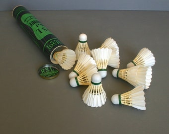 Vintage Badminton Shuttlecocks/Birdies in original Retro RSL Packaging, includes 12 Real Feather Shuttlecocks